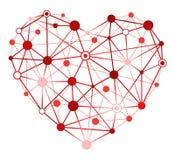 Coração vermelho com pontos de conexão Fotografia de Stock Royalty Free