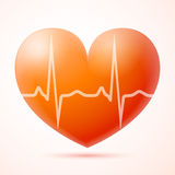 Coração vermelho com pulso isolado Foto de Stock Royalty Free