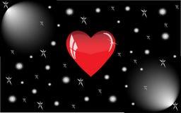 Coração vermelho com reflexões em um fundo preto Fotografia de Stock Royalty Free