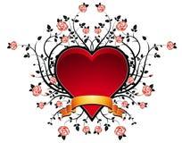 Coração vermelho com rosas, vetor Imagem de Stock Royalty Free