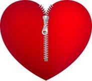 Coração vermelho com zipper Imagem de Stock