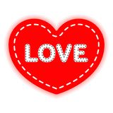 Coração vermelho costurado com linha branca e o amor da palavra O conceito do dia de Valentim, reconhecimento Vetor ilustração do vetor