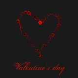 Coração vermelho da aquarela isolado no fundo preto Cartão do dia de Valentim do feriado Ilustração da pintura da mão Fotos de Stock