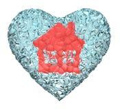 Coração vermelho da casa Fotos de Stock