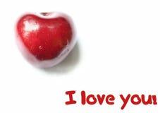 Coração vermelho da cereja fotos de stock royalty free