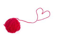 Coração vermelho de lãs Imagem de Stock