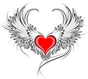 Coração vermelho de um anjo ilustração stock