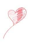 Coração vermelho desenhado Fotos de Stock Royalty Free