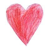 Coração vermelho desenhado por uma criança no fundo branco Imagens de Stock Royalty Free