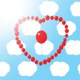 Coração vermelho do balão Fotos de Stock Royalty Free