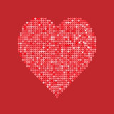 Coração vermelho do brilho isolado no fundo Ilustração do vetor Conceito do amor Papel de parede bonito Boa ideia para seu casame Foto de Stock