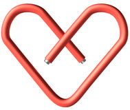 Coração vermelho do clipe de papel Foto de Stock Royalty Free