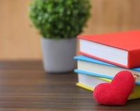 Coração vermelho do dia de Valentim com os livros coloridos na madeira velha holida Fotografia de Stock Royalty Free