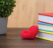 Coração vermelho do dia de Valentim com os livros coloridos na madeira velha holida Foto de Stock