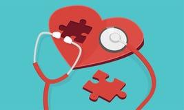 Coração vermelho do enigma com o azul isolado estetoscópio ilustração royalty free