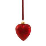 Coração vermelho do Natal isolado no ano novo do fundo branco Imagem de Stock Royalty Free