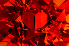 Coração vermelho do origami imagens de stock