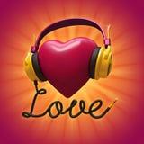 coração vermelho do Valentim 3d com auscultadores Fotografia de Stock Royalty Free