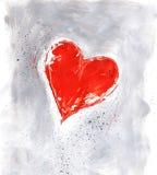 Coração vermelho do Valentim no cinza Imagens de Stock
