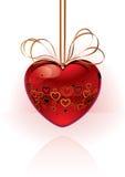Coração vermelho do vetor com gráfico Fotografia de Stock