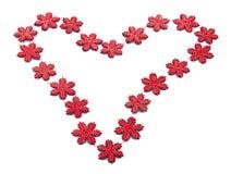 Coração vermelho dos flocos de neve Fotos de Stock Royalty Free