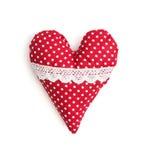 Coração vermelho e branco isolado do Valentim do pano Imagem de Stock Royalty Free