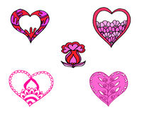 Coração vermelho e cor-de-rosa teste padrão pintado Imagem de Stock