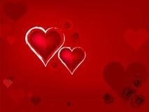 Coração vermelho e flor cor-de-rosa Ilustração Royalty Free