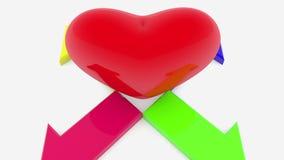 Coração vermelho entre as quatro setas ilustração do vetor