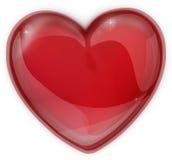 Coração vermelho feito do ícone de vidro por um dia de Valentim Fotos de Stock