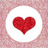 Coração vermelho feito dos pixéis e de corações pequenos ao redor Fundo do dia de Valentim ilustração stock