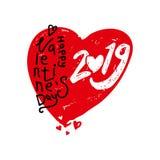 Coração vermelho grande 2019 Caligrafia moderna do dia de Valentim 2019 felizes ilustração do vetor