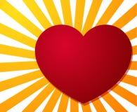 Coração vermelho grande no fundo da explosão da listra Fotos de Stock