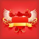 Coração vermelho lustroso do vetor Fotos de Stock Royalty Free