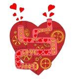 coração vermelho mecânico com engrenagens e tubos Fotografia de Stock Royalty Free
