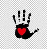 Coração vermelho na cópia preta da palma em transparente ilustração do vetor