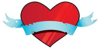 Coração vermelho na fita azul Fotos de Stock Royalty Free