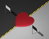 Coração vermelho na linha divisional entre áreas preto e branco com bandeiras ilustração stock