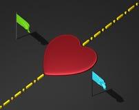 Coração vermelho na superfície do preto com linha e bandeiras de limite ilustração do vetor