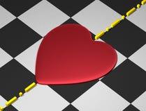 Coração vermelho na superfície quadriculado com linha divisional ilustração stock