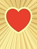 Coração vermelho no fundo de raias douradas Fotografia de Stock
