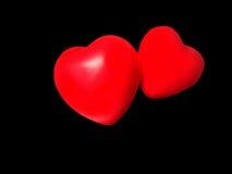 Coração vermelho no fundo preto Imagens de Stock