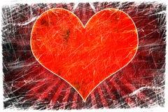 Coração vermelho no grunge ilustração do vetor
