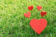 Coração vermelho nos fundos da grama verde com espaço da cópia Fotos de Stock