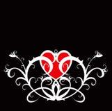 Coração vermelho (ornamento da flor) ilustração stock