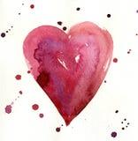 Coração vermelho pintado aquarela Fotografia de Stock Royalty Free