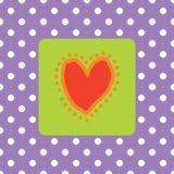 Coração vermelho pintado com polkadots Ilustração do Vetor