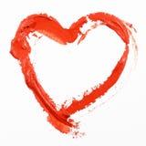 Coração vermelho pintado desenhado mão Foto de Stock