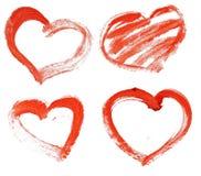 Coração vermelho pintado desenhado mão Fotografia de Stock