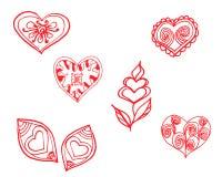 Coração vermelho teste padrão pintado Imagem de Stock Royalty Free